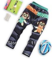 promotion new arrivals boys cartoon monkey cotton padded thicken jean trousers kids long denim pants