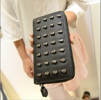 2013 female wallet long design vintage skull zipper wallet day clutch evening bag