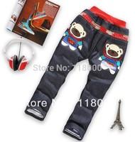 hot sales free shiping 4pcs/lot boys cartoon bear cotton padded thicken jean trousers kids long denim pants
