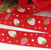 25mm Red Ribbon printing Strawberry use for Ribbon bows ,Decorations, Hair decorations and Packing