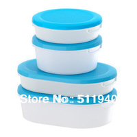 4 pieces/pack pp plastic food container with lid, 300ml, 500ml, storage box