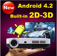 Latest Projector Quad-core Android 4.2 Smart WiFi 1080p Pico Mini 3LED Shutter 3D Home Cinema Projector Beamer Built-in 2D to 3D