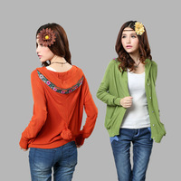 Free shipping 2013 new fall promotion folk style embroidery women's hooded cardigan women autumn sweater 888# wholesale