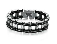 OPK JEWELRY Free Shipping! Genuine Silicone + steel Bracelet, Big Cuff Men Bracelet , width 18.6mm infinity bracelet, 811