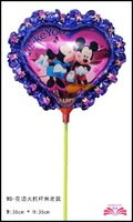 free shipping 14inch  laced Mickey and Minnie foil balloon within stick aluminium foil balloon