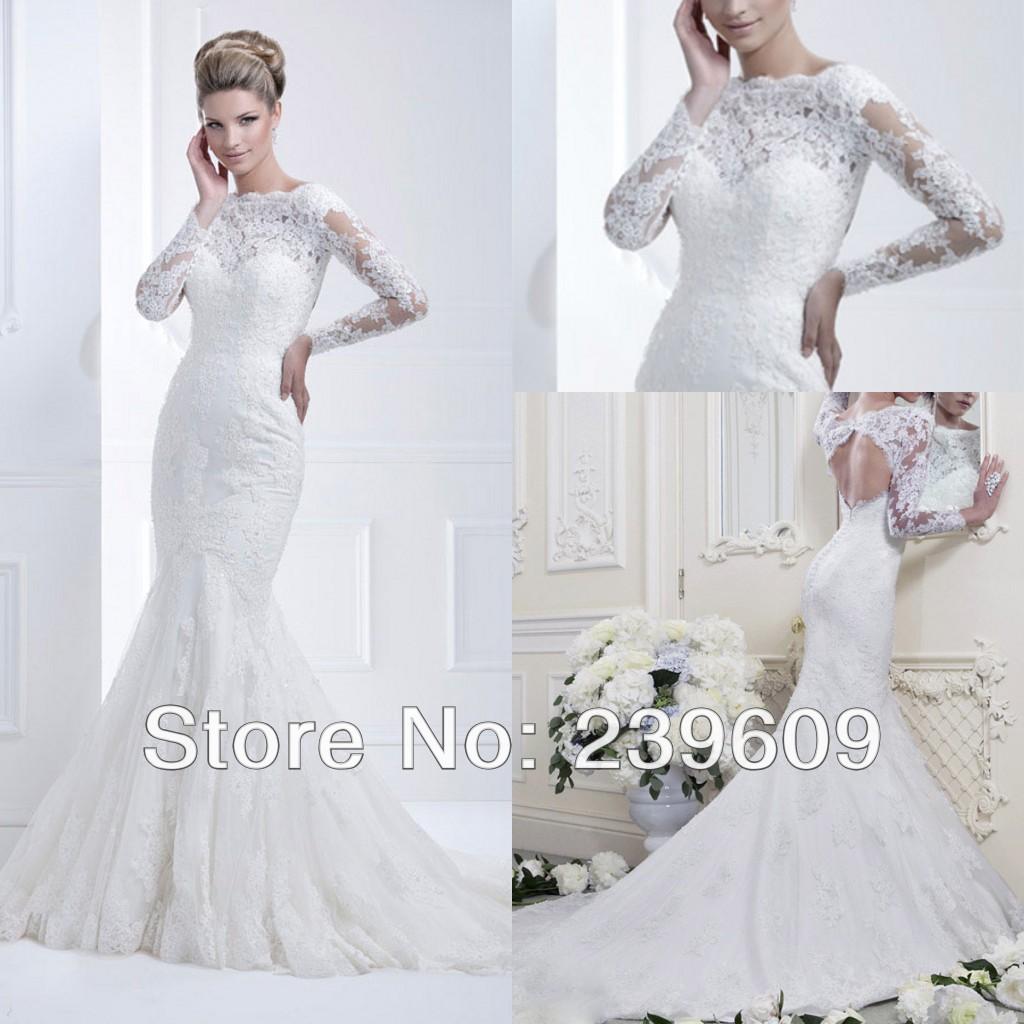 Ellis Bridals DHL Free Shipping Elegant Scoop Long Train Cut Back Beaded Mermaid Long Sleeve Lace Wedding Dresses with Applique(China (Mainland))