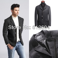 2013 Fall and winter men woolen jackets brand cheap long sleeves metal chains slim men coats three buttons size S to XXXL