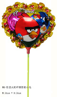 free shipping 14inch laced Bird foil balloon within stick aluminium foil balloon