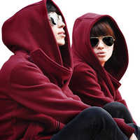 Autumn and winter lovers double collar oblique zipper hooded fleece sweatshirt men's clothing  , free shipping