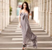 Elegant and noble and elegant wedding bridesmaid elegant banquet tube top silk long design over-the-knee women's formal dress