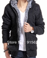 autumn and winter sweater male with a hood cardigan solid color sweater thickening sweater outerwear men's clothing