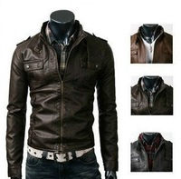 Free shipping, men's winter leather jacket, Multi-pocket, fashion Slim, men's PU Suede jacket coat, Black/ coffee/ Palm, 2013New
