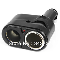 High Quality Free DHL shipping CCL1 NEW BLACK DUAL 2 SOCKET SPLITTER CAR CIGARETTE LIGHTER CHARGER ADAPTER