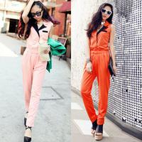 Personalized vintage turn-down collar slim waist slim thin high waist jumpsuit jumpsuit