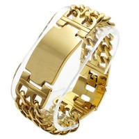 Fashion Heavy Mens 316L Stainless Steel Byzantine Chain Bracelet 18K Gold Plated 22.5mm Width
