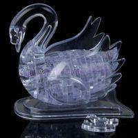 J35 Free Shipping 3D Crystal Puzzle Jigsaw Model DIY Swan IQ Toy Gift Souptoy Furnish Gadget