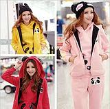 Cii -piece hooded sweater winter sweater Korean women thick thick fleece Slim Casual Suit