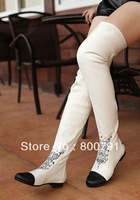 2013 CC Logo boots women's over-the-knee boots Flat elastic cloth Slim boots fashion girl white boots