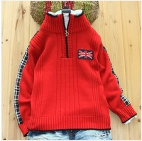 Kids explosion models Korean winter sweater  British style boy half-zip sweater
