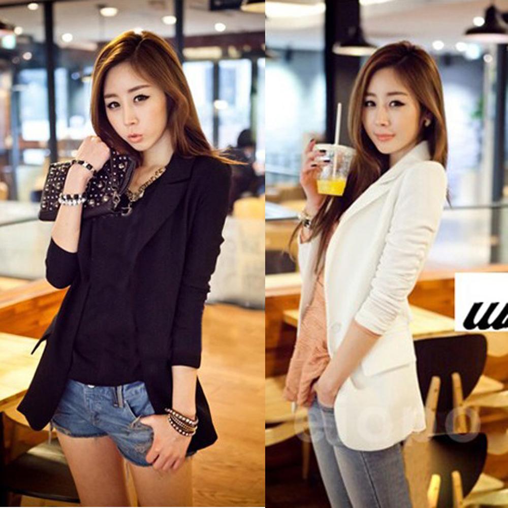 2014 HOT Suit Tops Blazer Women Jackets Chiffon Coat Contrast Polo Neck New Korean Style Long Sleeve white black(China (Mainland))