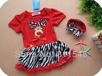 Retail Cute Deer Red Christmas Outfit Baby Suit Set Girl Zebra Dress with Headbands Summer Toddler Clothing Children's Outerwear