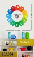 DIY Stickers Wall Clock Creative Fashion Large Modern Designer Decor Mural Art Muti-color 10A034 Free Shipping