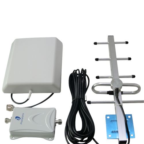 65dB 900MHz Booster +Indoor and Outdoor Antenna + Black Cable Cell Phone Signal Repeater Amplifier Kit for GSM/3G Network(China (Mainland))