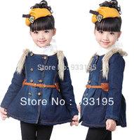 Free Shipping Girls Kids Winter Fashion Faux Fur Jean Coats Jackets Outerwear With Belt Sz3-9Y
