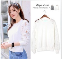 2013 autumn fashion clors white women's casual loose long-sleeve lace women pullover sweatshirt women 9033