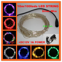 Free Shipping!  10m/100leds Silver Wire Waterproof Led String Christmas Lights +DC12V 1A Power for Holiday/Party Decoration