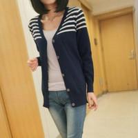 2013 autumn stripe knitted small cardigan regular style women's outerwear