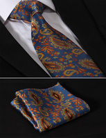 "TF3007N8 Blue Orange Paisley Floral 3.4"" Silk Lots Wedding Gravata Jacquard Mans Tie Necktie Pocket Square Handkerchief Set Suit"