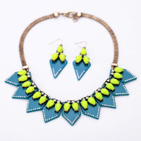 Vintage Fashion Vintage Jewelry Sets Gothic Style Neon Color Choker Necklace & Stud Earrings Bohemian Design Necklace
