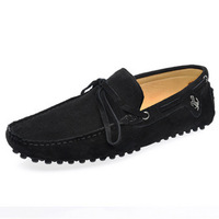 Genuine leather lacing male gommini loafers casual shoes trend sailing shoes