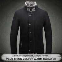 New Arrival Casual Thick Warm velvet Stand collar Single-breasted Long sleeve Knit Cardigan Sweater Men M L XL XXL XXXL