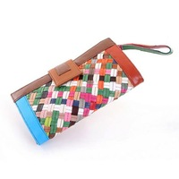 2013 new retro hit color sheepskin weave Ms. Long clutch wallet