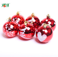 6cm mixed colored drawing ball christmas ball light christmas tree decoration ball hangings 80