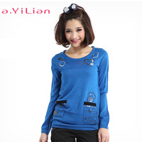 Ayilian 2013 female casual slim personalized long-sleeve sweater t-shirt 03572