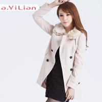 Ayilian 2013 autumn new arrival female wool cold-proof peter pan collar woolen thermal long-sleeve outerwear 23041