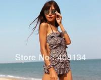 Free shipping 1 piece/lot Fashion Women's Swim Wear Nylon Slim Backless Swimsuit Leopard Sexy Swim Dress M/L/XL/XXL