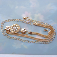 all-match rhinestone pearl lengthen metal belly chain female skirt decoration belly chain thin belt