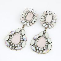 (Min Order $10)Wholesale Earrings For Women 2013 Women Statement Earrings Fashion Jewelry Pink Color Luxury Water drop Earrings