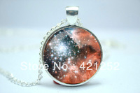 10pcs/lot Galaxy Necklace, Heavenly Nebula Pendant, Stars And Universe Jewelry Glass Cabochon Necklace