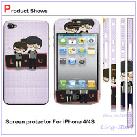 15pcs Newest Patterned LCD Screen Front+Back+border / Side stickers Protector Skin Cover Shield For IPhone 4 4s protective films