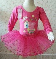 Free Shipping Baby Girls Autumn Peppa Pig Long Sleeve Leotard Ballet TUTU Dress Dot Lace Tutu Dance Costume Dress ((HY-6339))