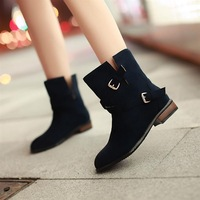 2013 women's spring and autumn shoes flat scrub velvet short wide-mouth fashion leather buckle on boots plus size Free shipping