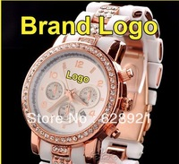 HOT Famous Brand Luxury Rose Gold Crystal Shockproof Steel& Rubber Analog Gift Wrist Watch /w LOGO for Women Ladies Durable