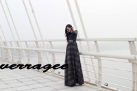 2013 autumn and winter fashion woolen patchwork slim plaid full dress mopping the floor ultra long one-piece dress leather skirt
