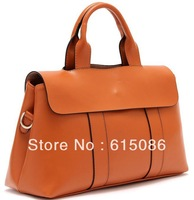 2013 Fashion Genuine Leather Bag Women's cowhide handbags business bag one shoulder tote bags black&red Gift M466