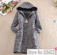 Winter Woollen Coat Women Outerwear Zipper Thick Long Hooded Black Wool Coat Parka Casacos Femininos 2014 Casaco